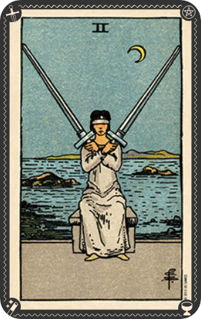 Two Of Swords Card Meaning Psychic Source 'which way do i go?' she stands at the crossroads of two paths, totally unsure of the future. two of swords card meaning psychic source